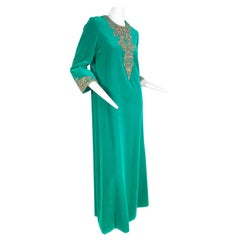 1960 Custom Made Emerald Green Cotton Velvet & Jeweled Caftan