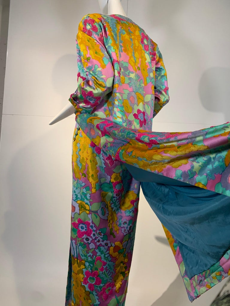 1960 Custom Made Resort Maxi Coat & Gown In Pastel Silk & Beaded Floral Print  For Sale 6