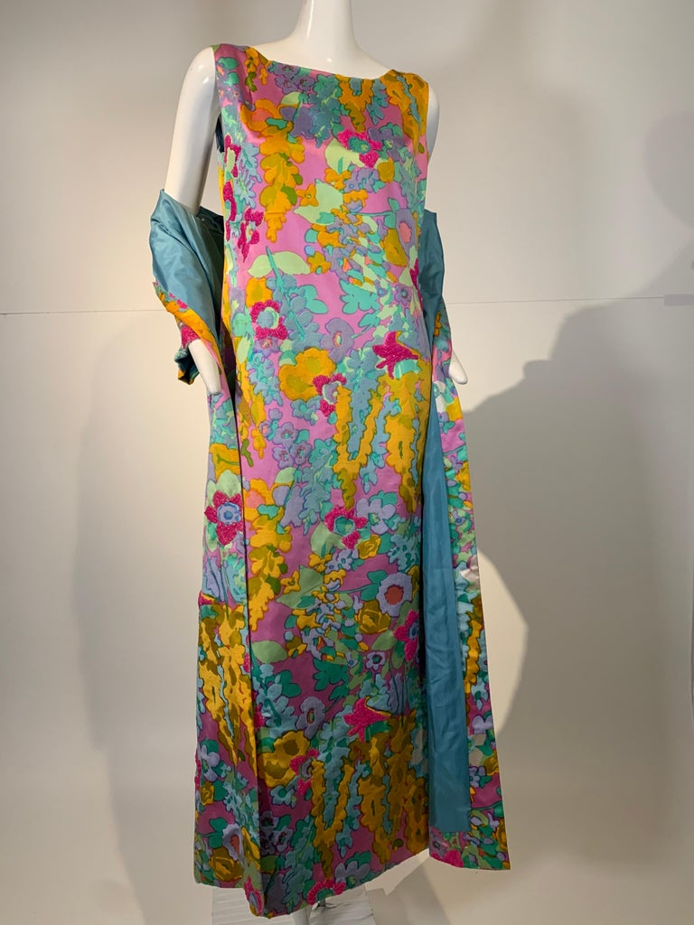 1960 Custom Made Resort Maxi Coat & Gown In Pastel Silk & Beaded Floral Print  For Sale 9