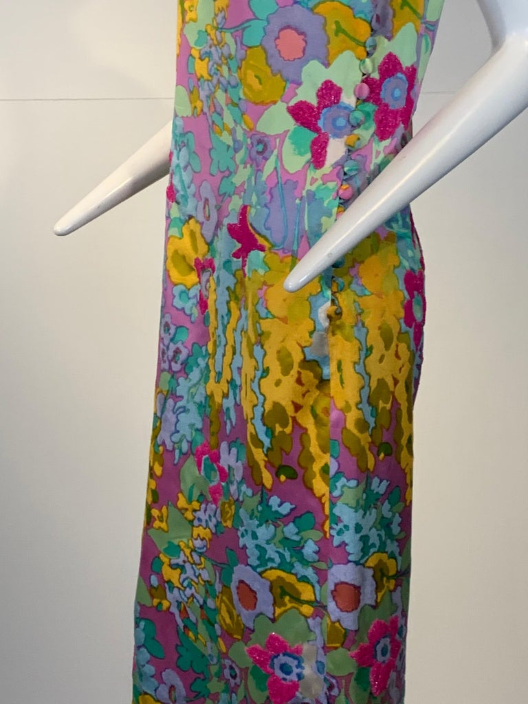 1960 Custom Made Resort Maxi Coat & Gown In Pastel Silk & Beaded Floral Print  For Sale 11