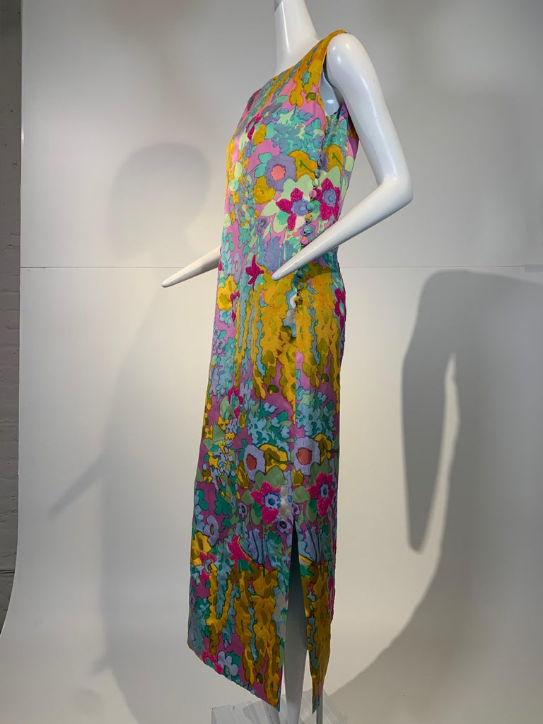 1960 Custom Made Resort Maxi Coat & Gown In Pastel Silk & Beaded Floral Print  For Sale 12
