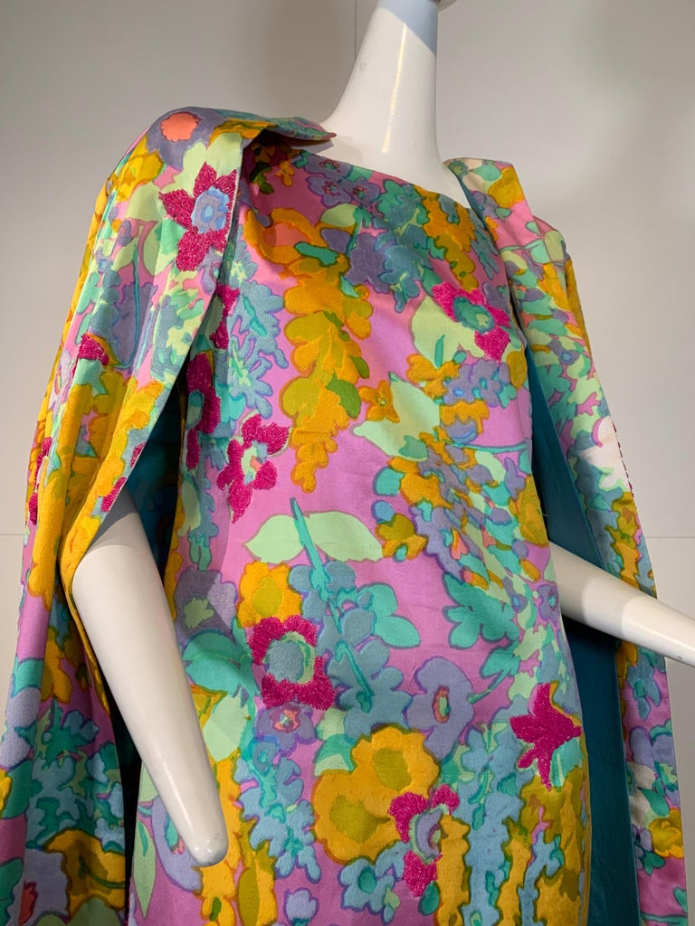 1960 Custom Made Resort Maxi Coat & Gown In Pastel Silk & Beaded Floral Print  For Sale 15