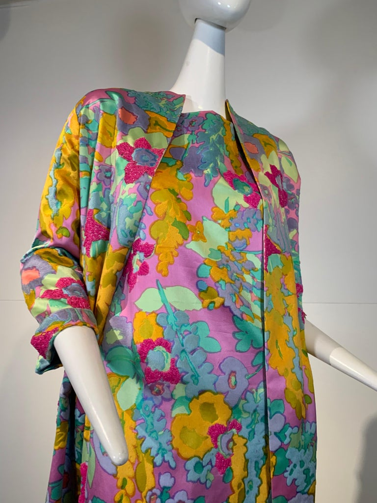 1960 Custom Made Resort Maxi Coat & Gown In Pastel Silk & Beaded Floral Print  In Excellent Condition For Sale In San Francisco, CA
