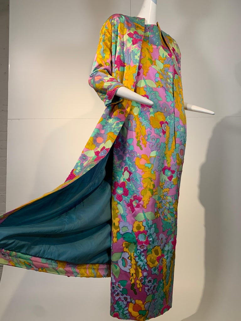 Women's 1960 Custom Made Resort Maxi Coat & Gown In Pastel Silk & Beaded Floral Print  For Sale