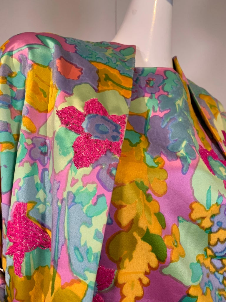 1960 Custom Made Resort Maxi Coat & Gown In Pastel Silk & Beaded Floral Print  For Sale 1