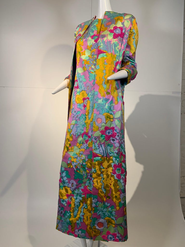 1960 Custom Made Resort Maxi Coat & Gown In Pastel Silk & Beaded Floral Print  For Sale 2