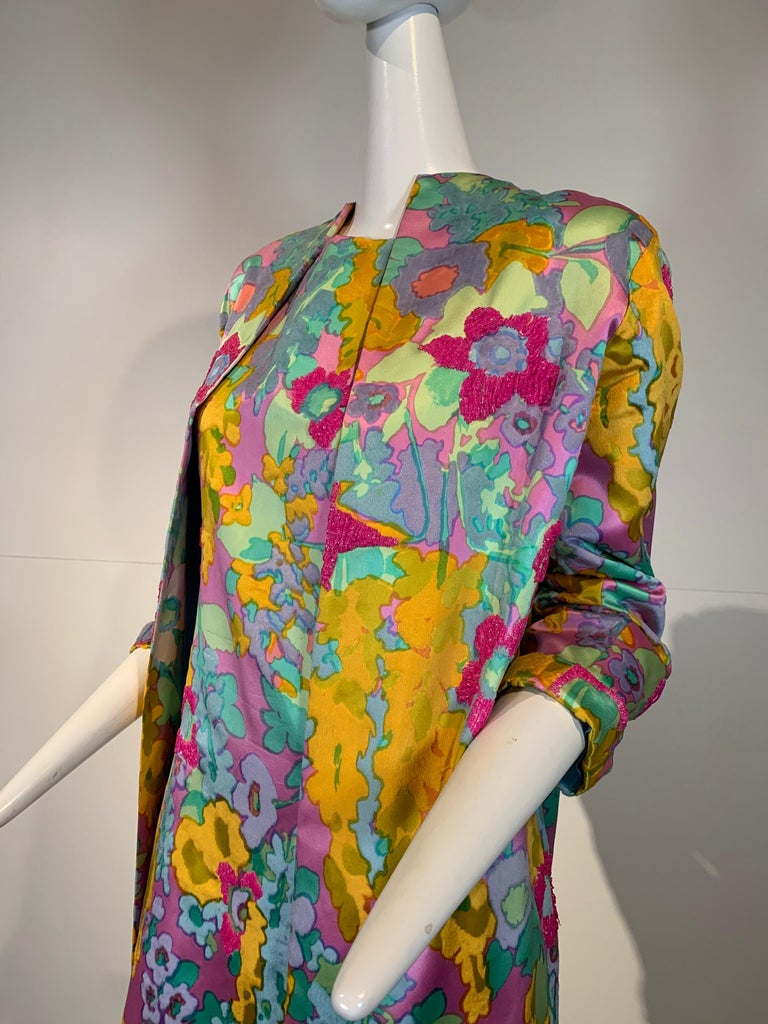 1960 Custom Made Resort Maxi Coat & Gown In Pastel Silk & Beaded Floral Print  For Sale 3