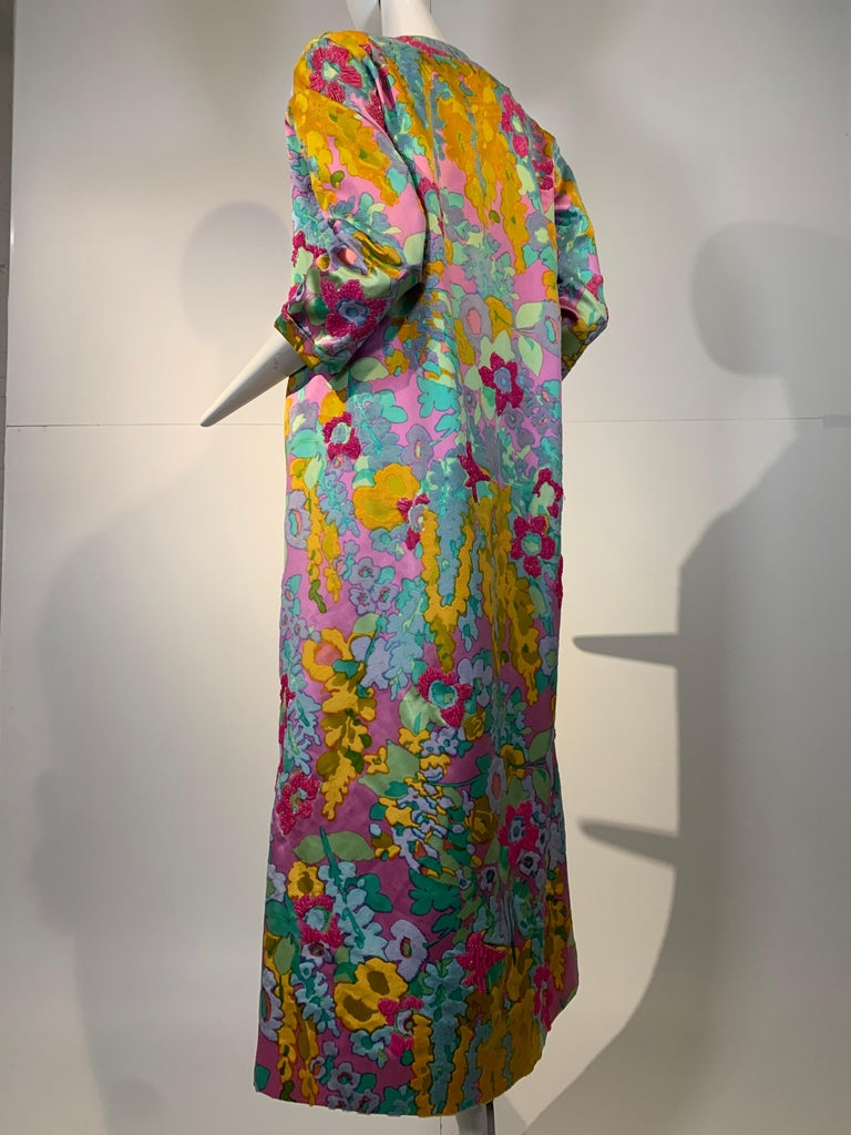 1960 Custom Made Resort Maxi Coat & Gown In Pastel Silk & Beaded Floral Print  For Sale 4