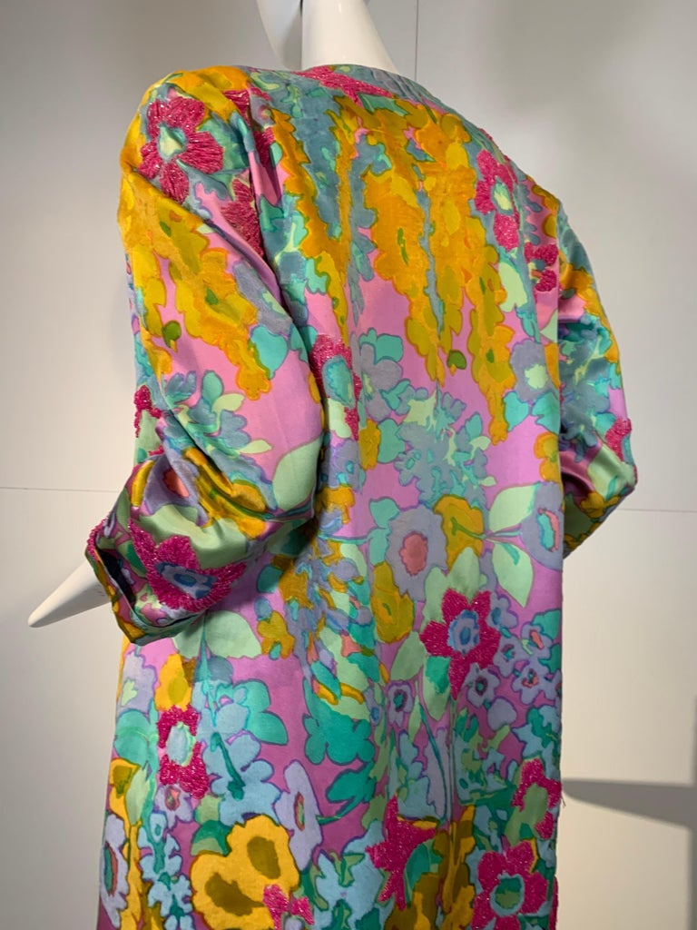 1960 Custom Made Resort Maxi Coat & Gown In Pastel Silk & Beaded Floral Print  For Sale 5