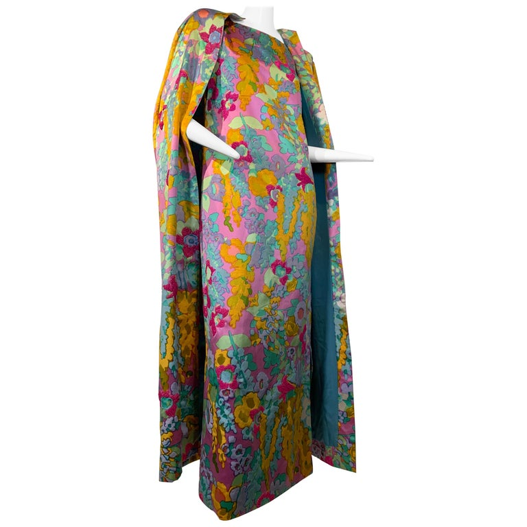 1960 Custom Made Resort Maxi Coat & Gown In Pastel Silk & Beaded Floral Print  For Sale