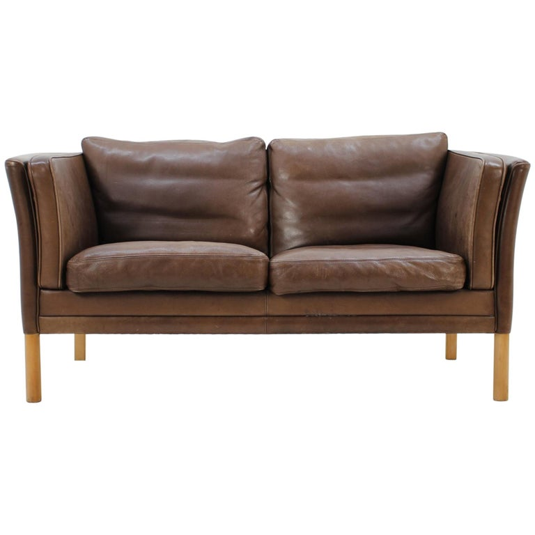 1960 Danish 2-Seat Leather Sofa For Sale at 1stdibs