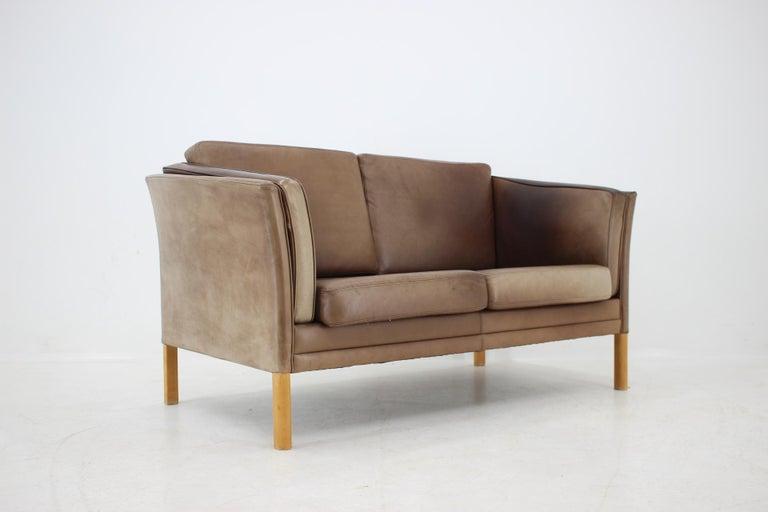 Mid-Century Modern 1960 Danish 2-Seat Leather Sofa For Sale