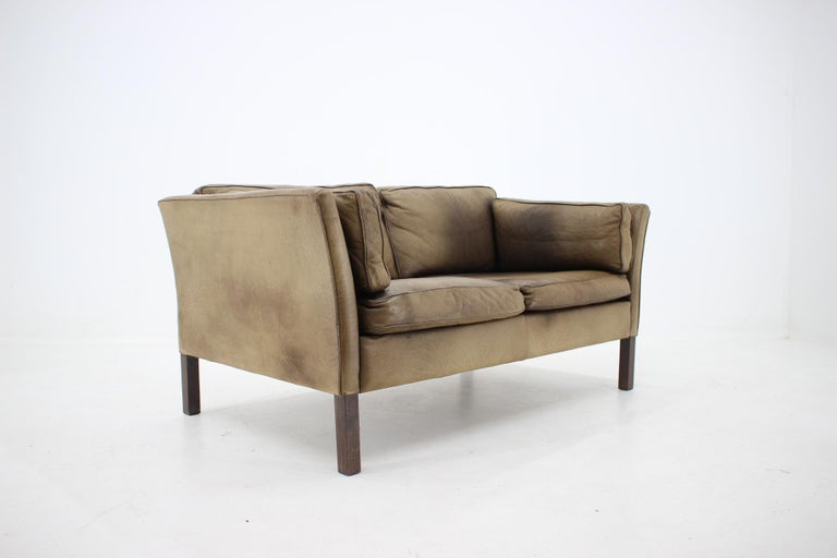 1960 Danish 2-Seat Leather Sofa For Sale 1