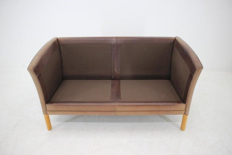 1960 Danish 2-Seat Leather Sofa For Sale 2