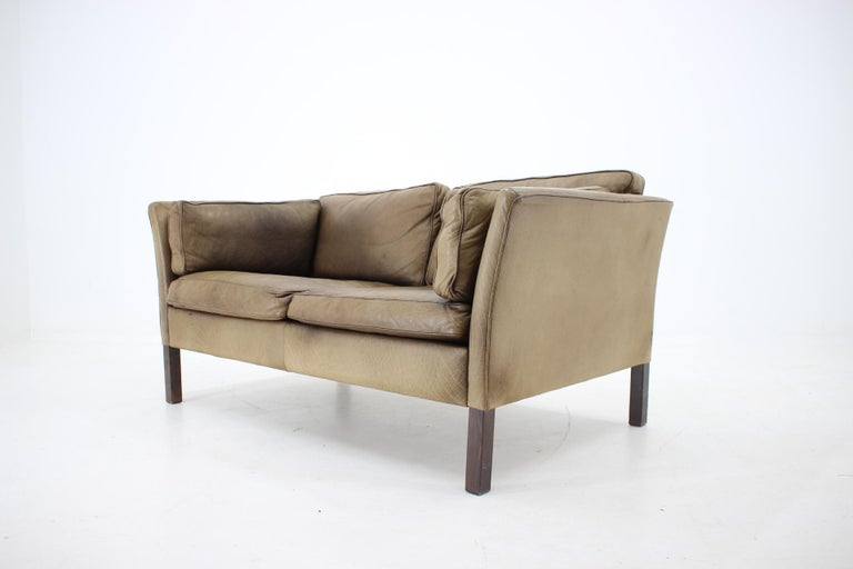 1960 Danish 2-Seat Leather Sofa For Sale 2