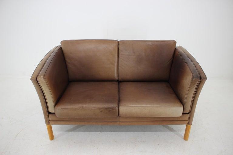 1960 Danish 2-Seat Leather Sofa For Sale 3