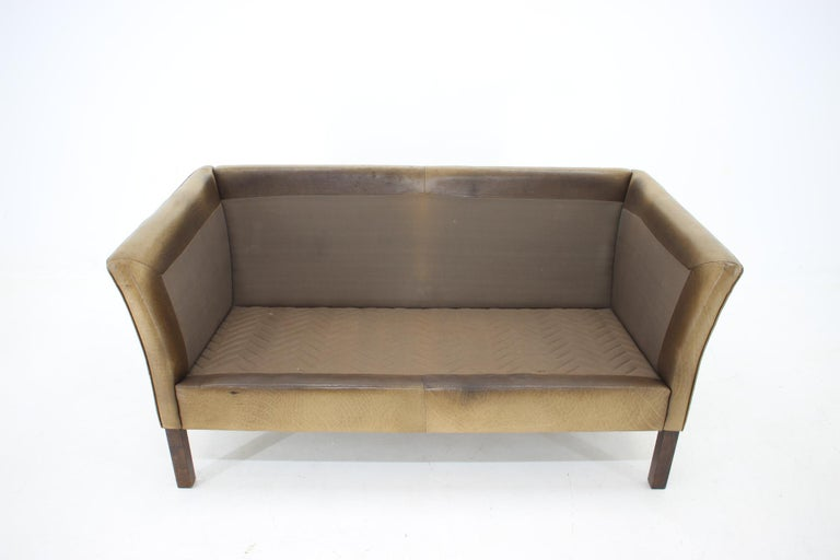 1960 Danish 2-Seat Leather Sofa For Sale 3