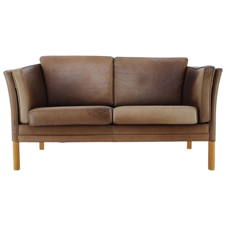 1960 Danish 2-Seat Leather Sofa For Sale