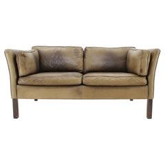 1960 Danish 2-Seat Leather Sofa