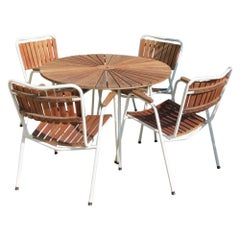 1960 Danish Daneline Garden Teak Table and Set of 4 Stackable Teak Garden Chairs