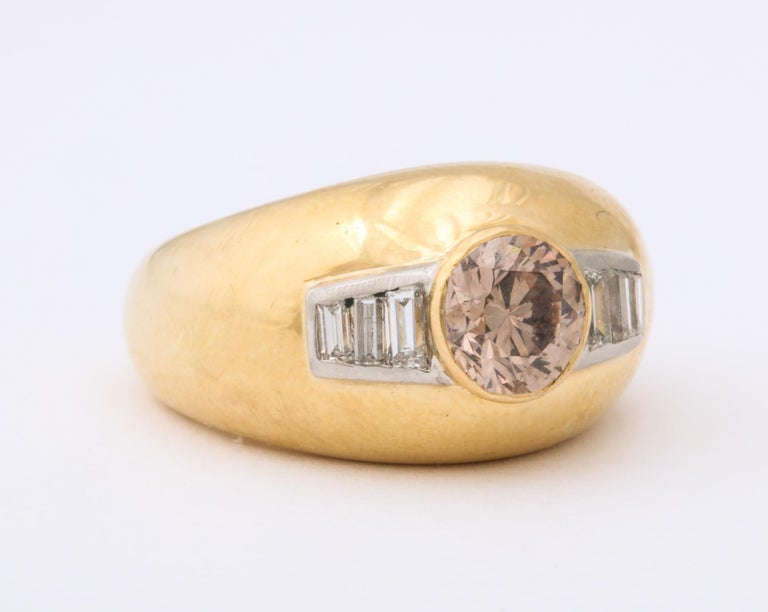 Round Cut 1960 David Webb Natural Fancy Color Light Brown Diamond with Baguettes Gold Ring For Sale