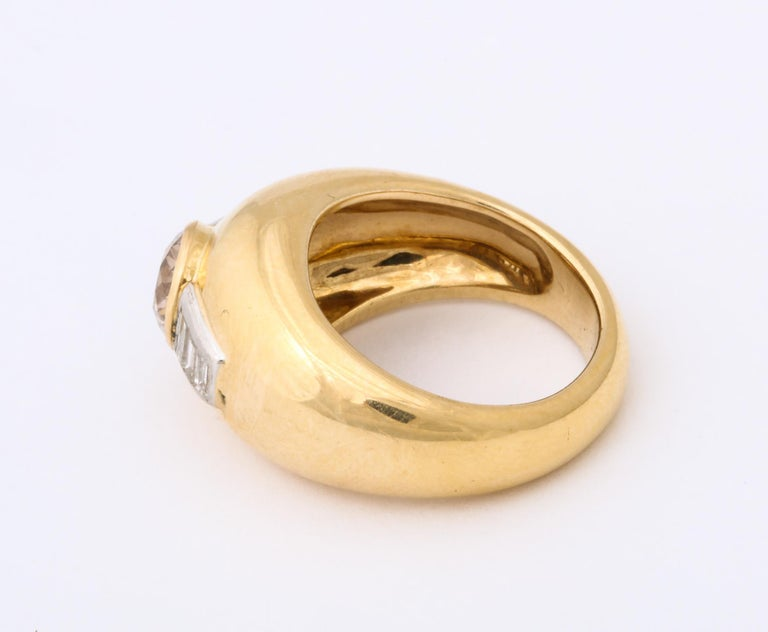 Women's or Men's 1960 David Webb Natural Fancy Color Light Brown Diamond with Baguettes Gold Ring For Sale