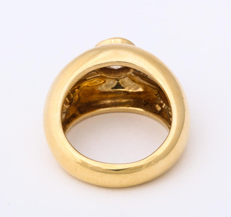 1960 David Webb Natural Fancy Color Light Brown Diamond with Baguettes Gold Ring For Sale 1