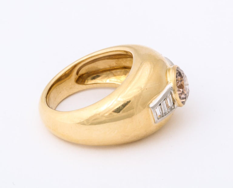 1960 David Webb Natural Fancy Color Light Brown Diamond with Baguettes Gold Ring For Sale 2