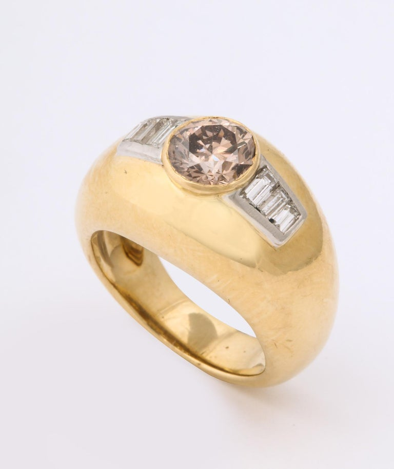 1960 David Webb Natural Fancy Color Light Brown Diamond with Baguettes Gold Ring For Sale 3