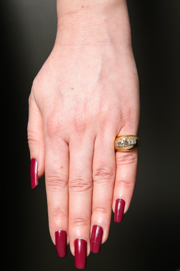 1960 David Webb Natural Fancy Color Light Brown Diamond with Baguettes Gold Ring For Sale 4