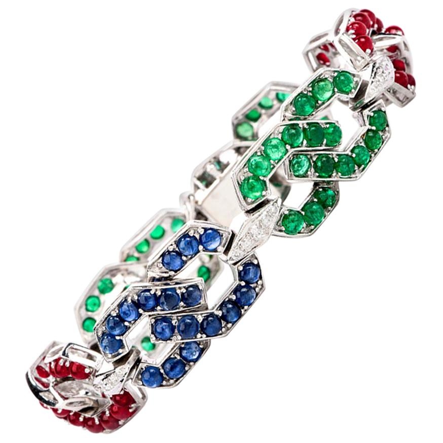 1960 Diamond Sapphire Emerald and Ruby 18 Karat Gold Link Bracelet