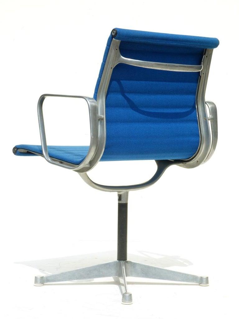 Italian 1960 EA 108 Charles Ray Eames Herman Miller ICF Design Blue Swivel Chair For Sale
