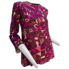 1960 Emilio Pucci Silk Chiffon Mod Print Tunic Top In Fuchsia Pink Tan