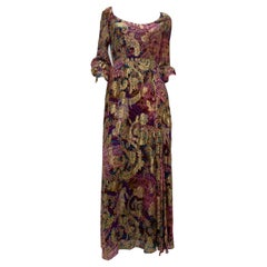 1960 Exotic Gold Lame Floral Print Maxi Dress W/ High Side Slit