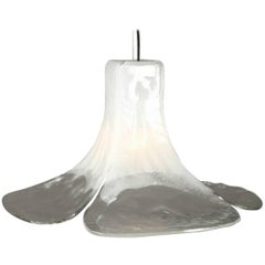 1960 Extra Large Mazzega Vetri Murano Glass Flower Ceiling Lamp
