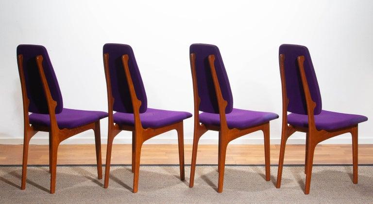 1960, Four Slim Teak High Back Dinning Chairs by Erik Buch for O.D. Möbler For Sale 4