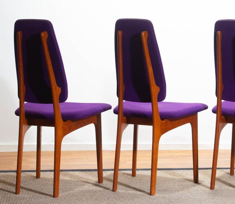 1960, Four Slim Teak High Back Dinning Chairs by Erik Buch for O.D. Möbler For Sale 5