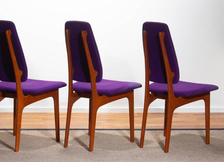 1960, Four Slim Teak High Back Dinning Chairs by Erik Buch for O.D. Möbler For Sale 6