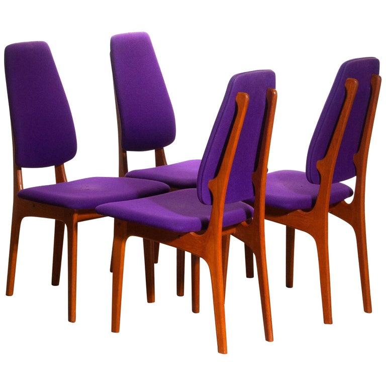 1960, Four Slim Teak High Back Dinning Chairs by Erik Buch for O.D. Möbler For Sale 8