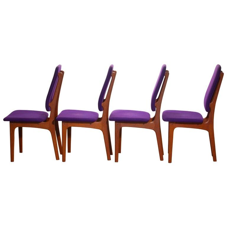 1960, Four Slim Teak High Back Dinning Chairs by Erik Buch for O.D. Möbler For Sale 9