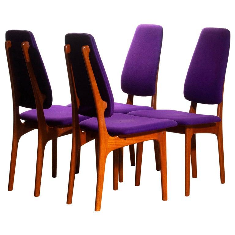Mid-Century Modern 1960, Four Slim Teak High Back Dinning Chairs by Erik Buch for O.D. Möbler For Sale