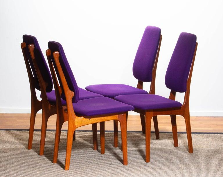 Danish 1960, Four Slim Teak High Back Dinning Chairs by Erik Buch for O.D. Möbler For Sale