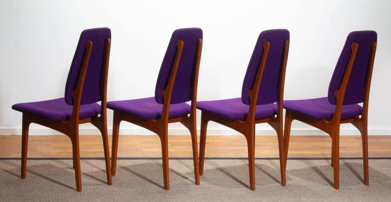 1960, Four Slim Teak High Back Dinning Chairs by Erik Buch for O.D. Möbler In Good Condition For Sale In Silvolde, Gelderland