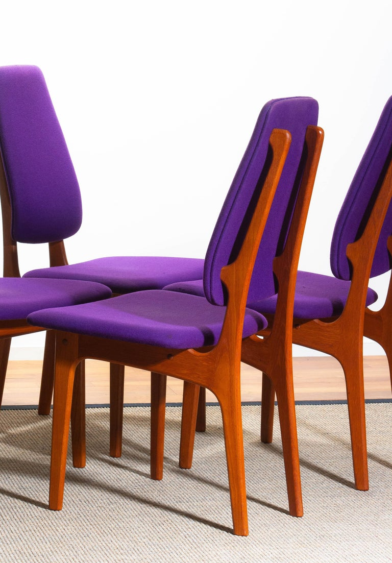 Mid-20th Century 1960, Four Slim Teak High Back Dinning Chairs by Erik Buch for O.D. Möbler For Sale