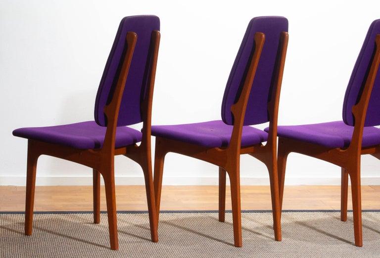 1960, Four Slim Teak High Back Dinning Chairs by Erik Buch for O.D. Möbler For Sale 1