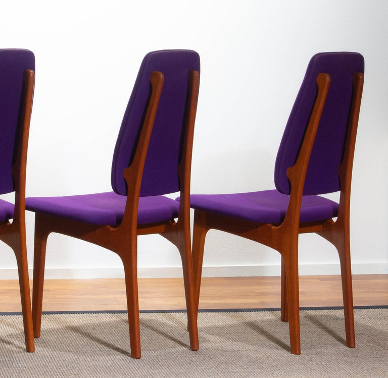 1960, Four Slim Teak High Back Dinning Chairs by Erik Buch for O.D. Möbler For Sale 2