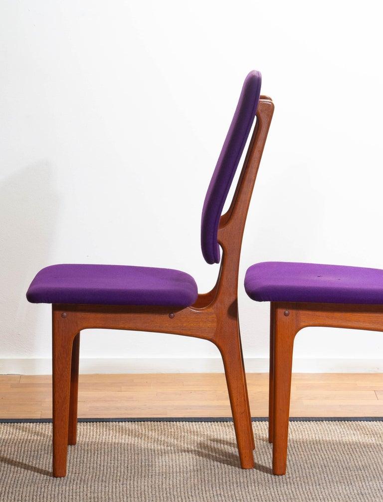 1960, Four Slim Teak High Back Dinning Chairs by Erik Buch for O.D. Möbler For Sale 3