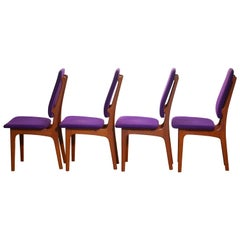 1960, Four Slim Teak High Back Dinning Chairs by Erik Buch for O.D. Möbler
