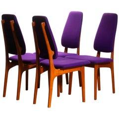 1960, Four Slim Teak High Back Dinning Chairs by Erik Buch for O.D. Möbler