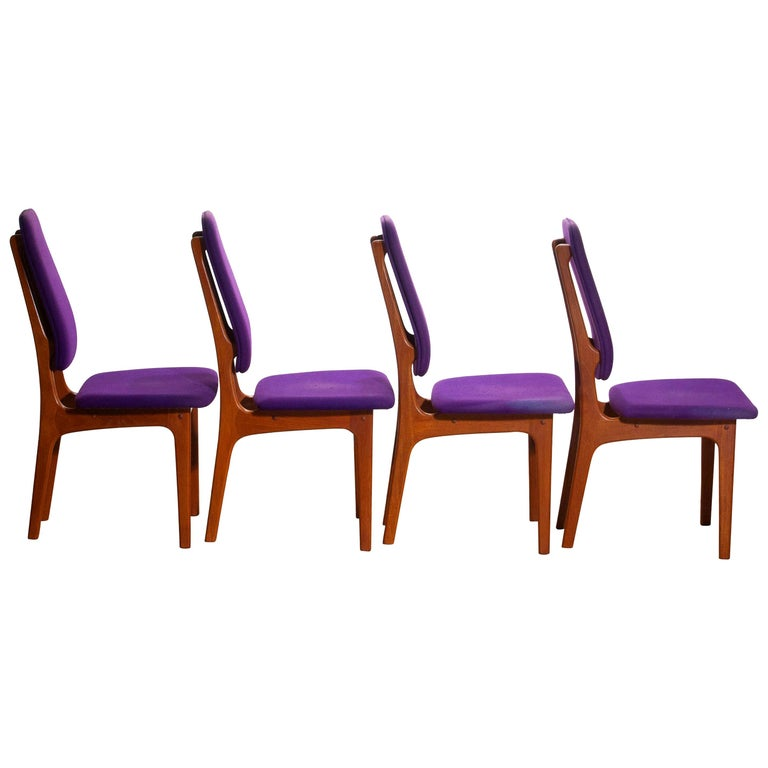 1960, Four Slim Teak High Back Dinning Chairs by Erik Buch for O.D. Möbler For Sale